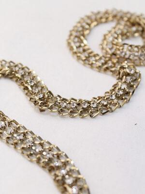 Тесьма отделочная металл золото цепь с белыми стразами (t0189) к19 - Фото 10