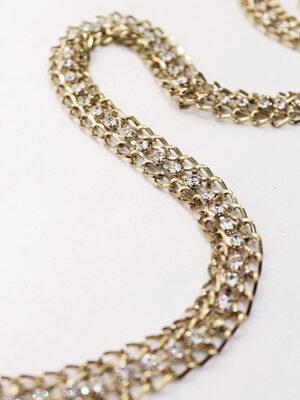 Тесьма отделочная металл золото цепь с белыми стразами (t0189) к19 - Фото 9