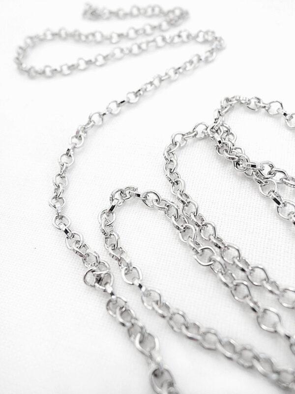 Цепь металл платиновая с колечками (t0190) Д-1 - Фото 8
