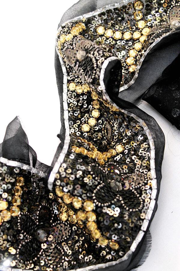 Тесьма с вышивкой пайетками бисером стразами на сетке (t0193) К-11 - Фото 7