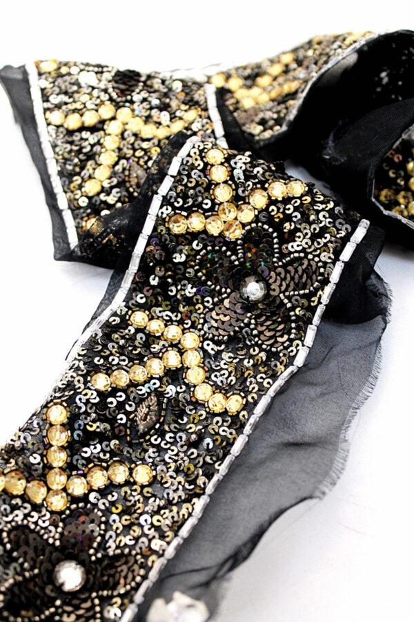 Тесьма с вышивкой пайетками бисером стразами на сетке (t0193) К-11 - Фото 6