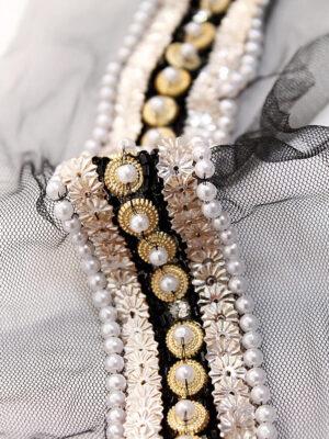 Тесьма c вышивкой на сетке жемчуг пайетки стразы (t0195) К-15 - Фото 8