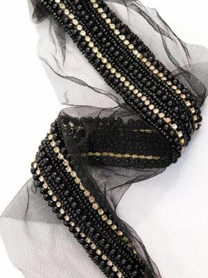 Тесьма черный жемчуг бисер стразы на сетке (t0197) К-7 - Фото 17