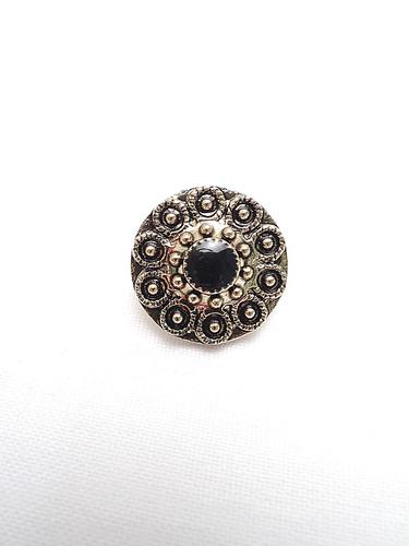 Пуговица пластик круглая золото черный жемчуг на ножке (p0201) - Фото 6