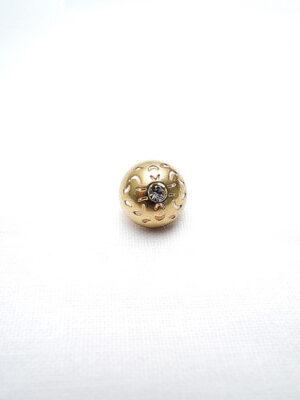 Пуговица металл маленькая на ножке золотая круглая в центре кристалл (P0202) - Фото 13