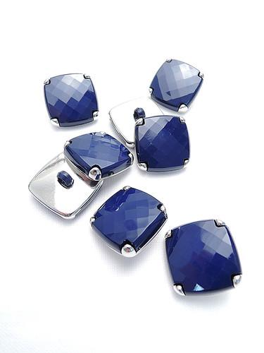 Пуговица сталь квадратная темно-синяя (p0203) к15н - Фото 8