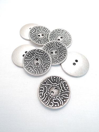 Пуговица металл старое серебро с арабским узором (p0207) к1 - Фото 8