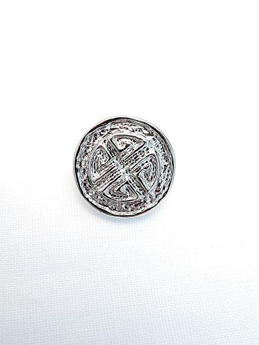 Пуговица пластик серебро узор с крестом (p0208) к14н - Фото 6