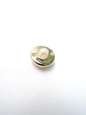 Пуговица маленькая с шляпкой белая пластмассовая звездочка в золотой оправе (p0211) - Фото 16