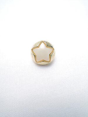 Пуговица маленькая с шляпкой белая пластмассовая звездочка в золотой оправе (p0211) - Фото 15