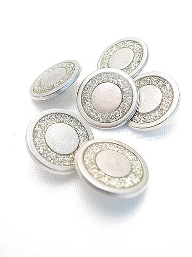 Пуговица металл серебро с кольцом из блесток (p0220) к2 - Фото 8