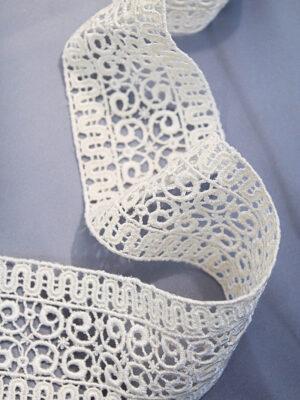 Тесьма макраме сливочная с орнаментом из завитков (t0223) К-3 - Фото 10