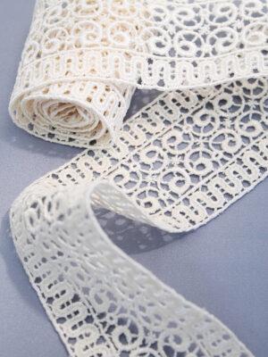 Тесьма макраме сливочная с орнаментом из завитков (t0223) К-3 - Фото 9
