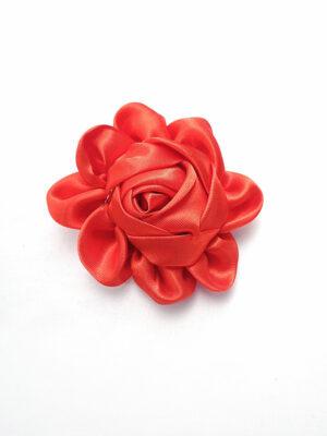 Брошь цветок из атласа красного оттенка с металлической булавкой (p0230) - Фото 12