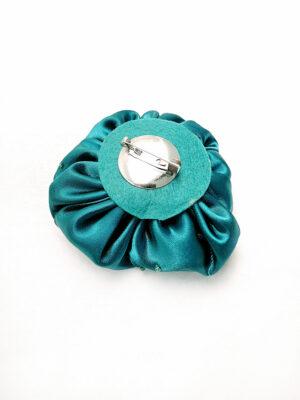 Брошь атласный бирюзовый цветок с бисером (p0231) - Фото 9