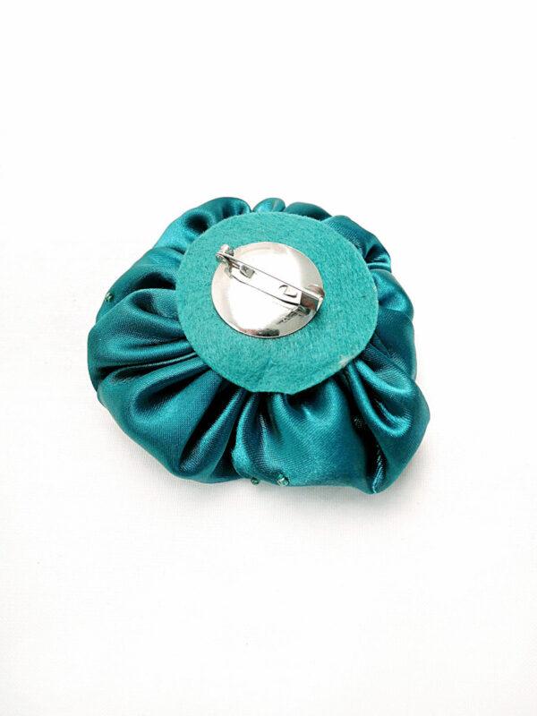 Брошь атласный бирюзовый цветок с бисером (p0231) - Фото 7