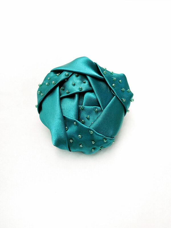 Брошь атласный бирюзовый цветок с бисером (p0231) - Фото 6