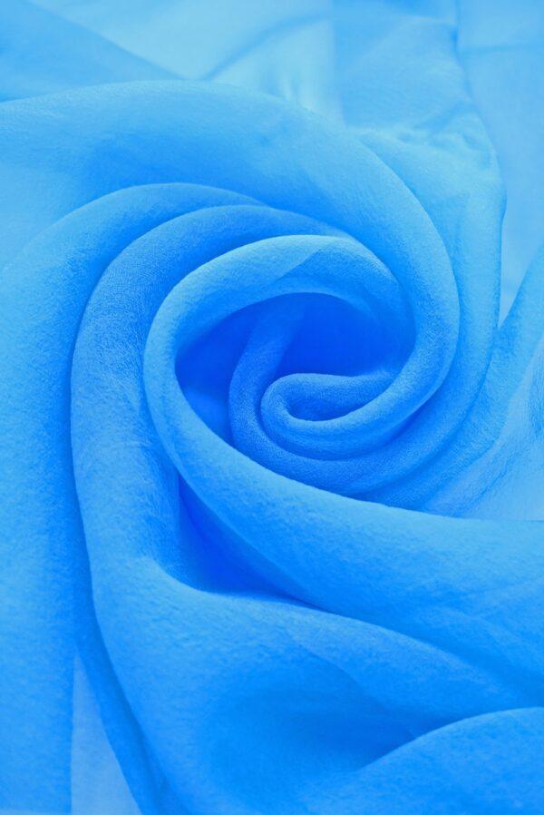 Органза шелк тонкая креповая голубая (0231) - Фото 7