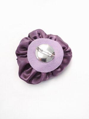 Брошь атласный фиолетовый цветок с бисером (p0233) Д-2 - Фото 13