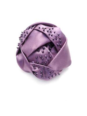 Брошь атласный фиолетовый цветок с бисером (p0233) Д-2 - Фото 12