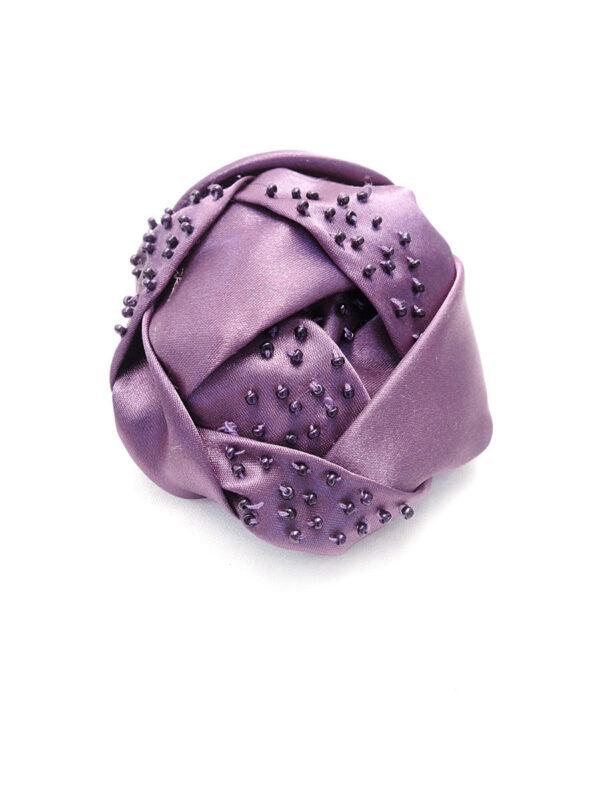 Брошь атласный фиолетовый цветок с бисером (p0233) Д-2 - Фото 6