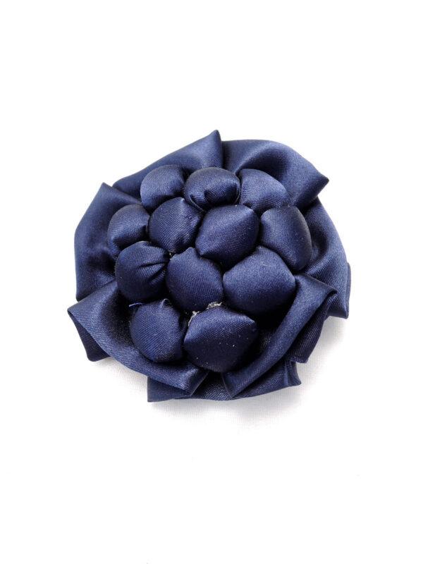 Брошь атласный синий цветок булавкой (p0234) - Фото 6