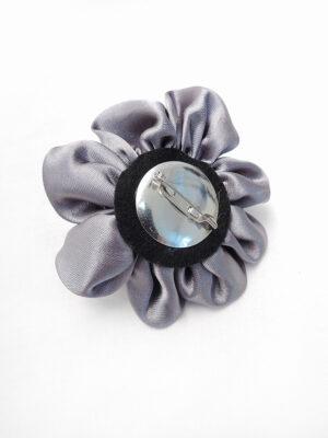 Брошь серый атласный цветок с булавкой (p0235) - Фото 16