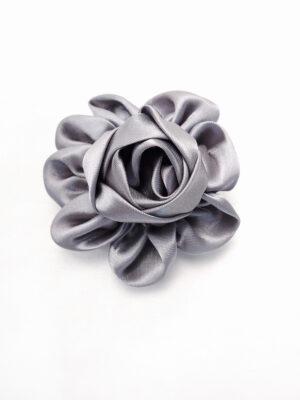 Брошь серый атласный цветок с булавкой (p0235) - Фото 15