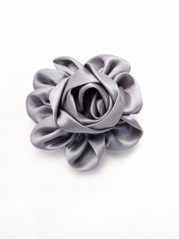 Брошь серый атласный цветок с булавкой (p0235) - Фото 6