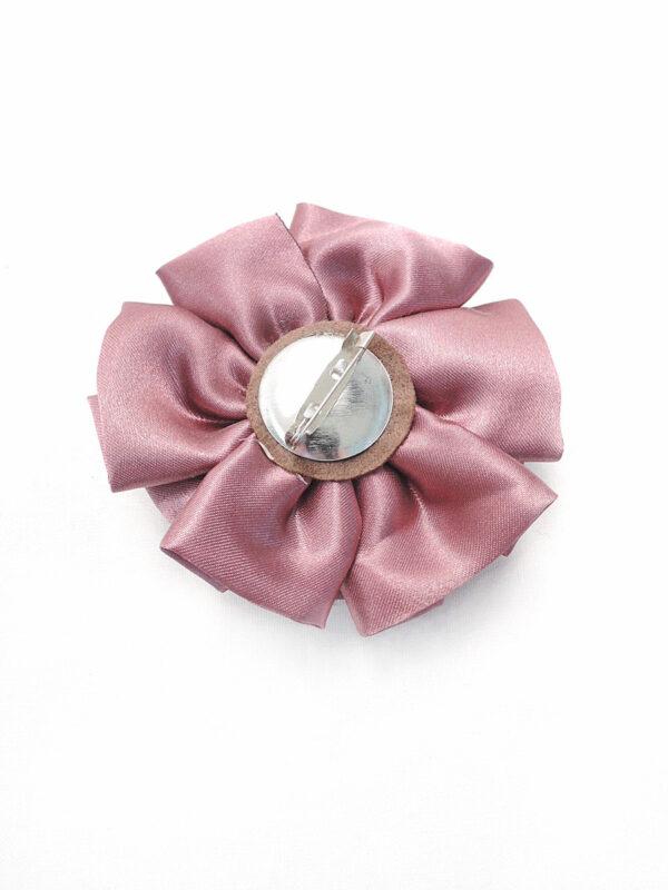 Брошь розовый атласный цветок с булавкой (p0236) - Фото 7