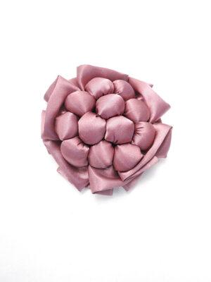Брошь розовый атласный цветок с булавкой (p0236) - Фото 12