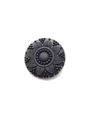 Пуговица пластик черная с камнями и цветком (p0239) к21 - Фото 6