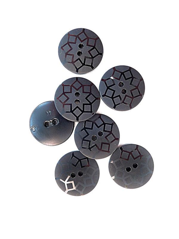 Пуговица пластик черная с ромбами (p0241) к21 - Фото 8
