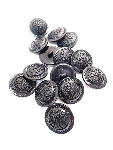 Пуговица пластик черная с резьбой рельефная (p0243) к21 - Фото 8