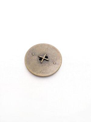 Пуговица круглая плоская на два прокола бронза имитация машинной строчки (p0247) - Фото 11