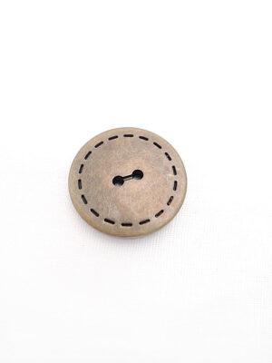 Пуговица круглая плоская на два прокола бронза имитация машинной строчки (p0247) - Фото 10