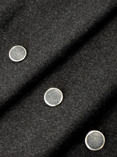 Пуговица круглая на ножке черная с серебристой каймой (p0251) к1 - Фото 9