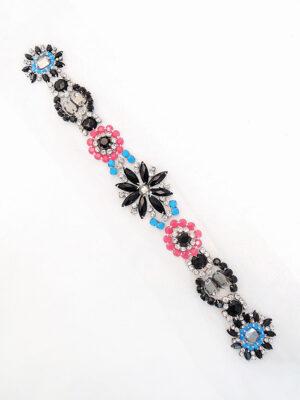 Аппликация пришивная с цветочками из разноцветных камней (t0251) К-броши и декоры 2 - Фото 12