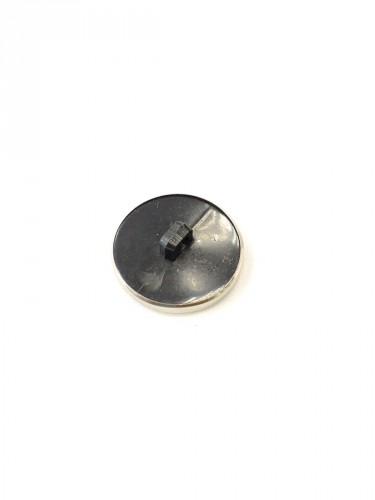 Пуговица круглая на ножке черная с серебристой каймой (p0251) к1 - Фото 7