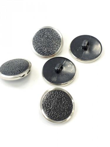 Пуговица круглая на ножке черная с серебристой каймой (p0251) к1 - Фото 8