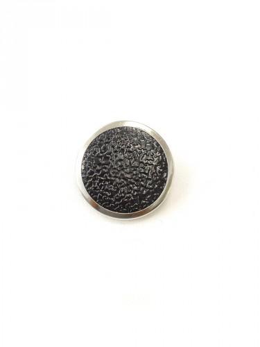Пуговица круглая на ножке черная с серебристой каймой (p0251) к1 - Фото 6
