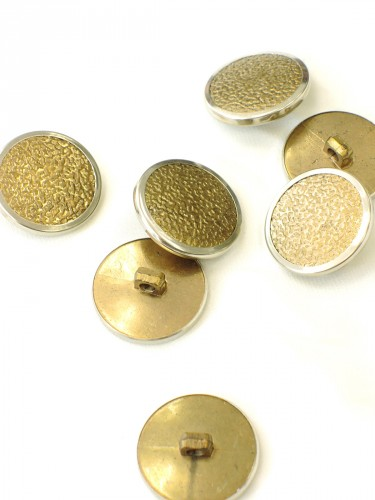 Пуговица металл пластик золотистая с серебристой каймой (p0252) к1 - Фото 8