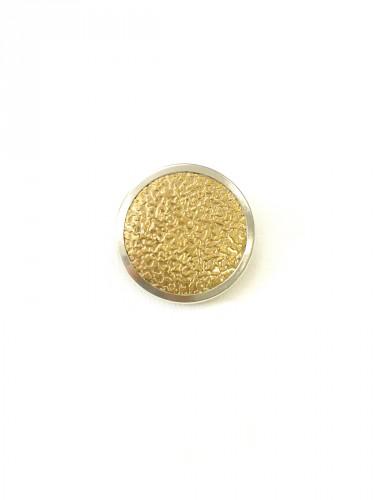 Пуговица металл пластик золотистая с серебристой каймой (p0252) к1 - Фото 6