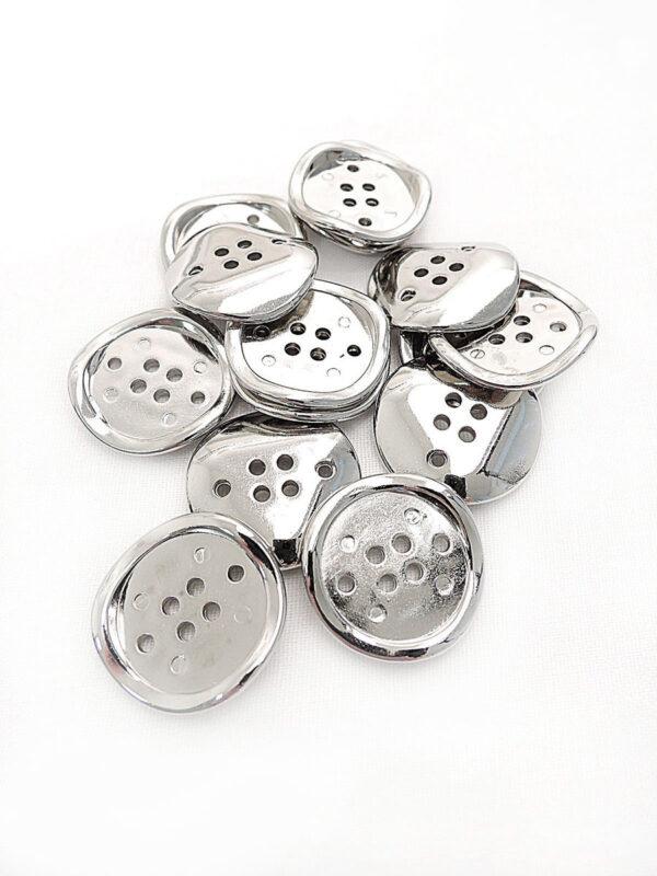 Пуговица металл на шесть проколов цвет серебро изогнутая (p0254) к16в - Фото 8