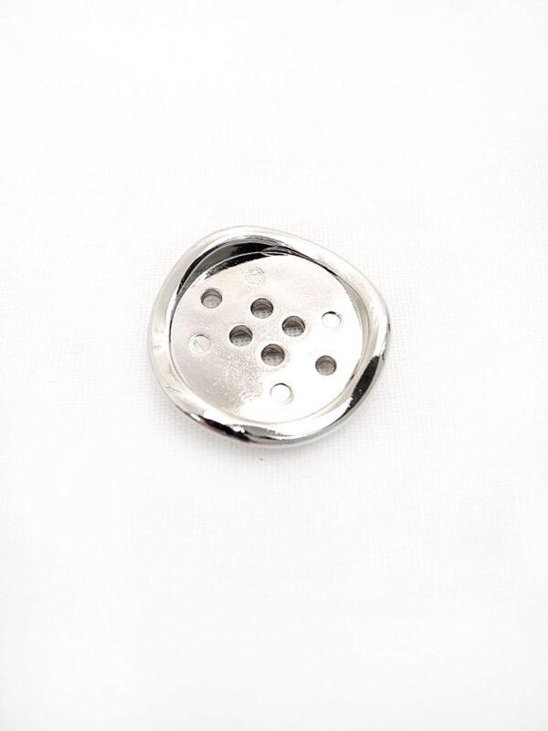 Пуговица металл на шесть проколов цвет серебро изогнутая (p0254) к16в - Фото 6