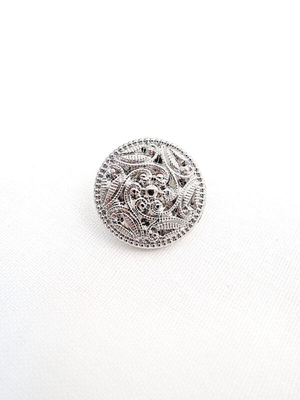 Пуговица пластик серебро узор завитки листочки (p0257) к14н - Фото 6