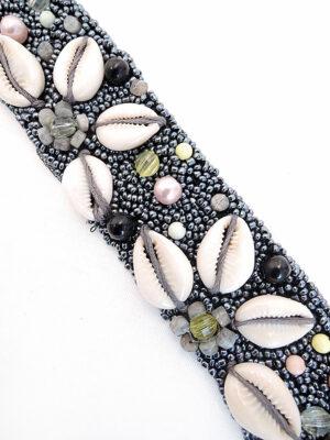 Аппликация пришивная бисер бусины ракушки на черной сетке (t0259) К-броши и декоры2 - Фото 17