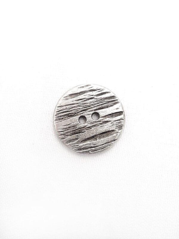 Пуговица металл поцарапанное серебро на два прокола (p0259) к1 - Фото 6