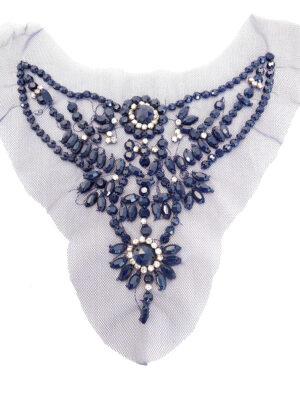 Аппликация для декольте синяя с камнями и стразами (t0261) К-броши и декоры2 - Фото 13