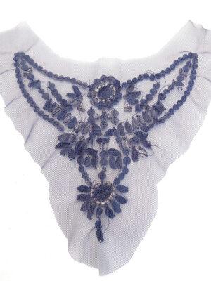 Аппликация для декольте синяя с камнями и стразами (t0261) К-броши и декоры2 - Фото 14
